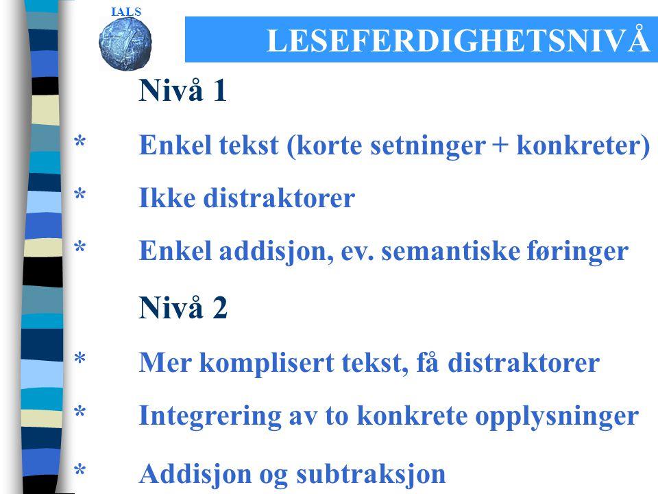 LESEFERDIGHETSNIVÅ Nivå 1 *Enkel tekst (korte setninger + konkreter) *Ikke distraktorer *Enkel addisjon, ev.