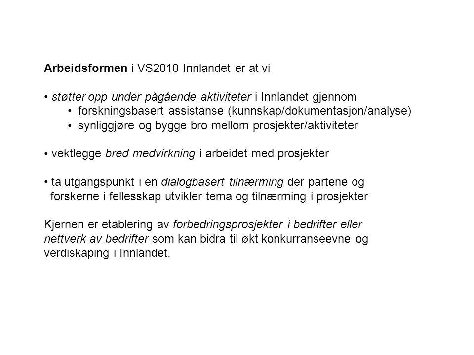 Arbeidsformen i VS2010 Innlandet er at vi støtter opp under pågående aktiviteter i Innlandet gjennom forskningsbasert assistanse (kunnskap/dokumentasj