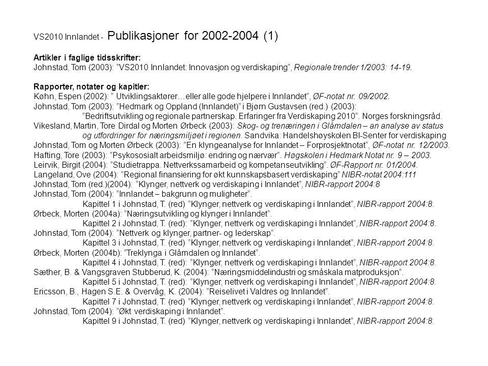 """VS2010 Innlandet - Publikasjoner for 2002-2004 (1) Artikler i faglige tidsskrifter: Johnstad, Tom (2003): """"VS2010 Innlandet: Innovasjon og verdiskapin"""