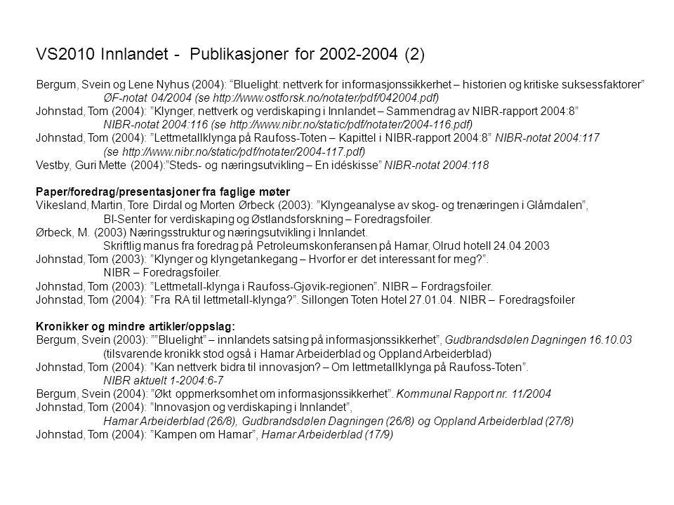 """VS2010 Innlandet - Publikasjoner for 2002-2004 (2) Bergum, Svein og Lene Nyhus (2004): """"Bluelight: nettverk for informasjonssikkerhet – historien og k"""