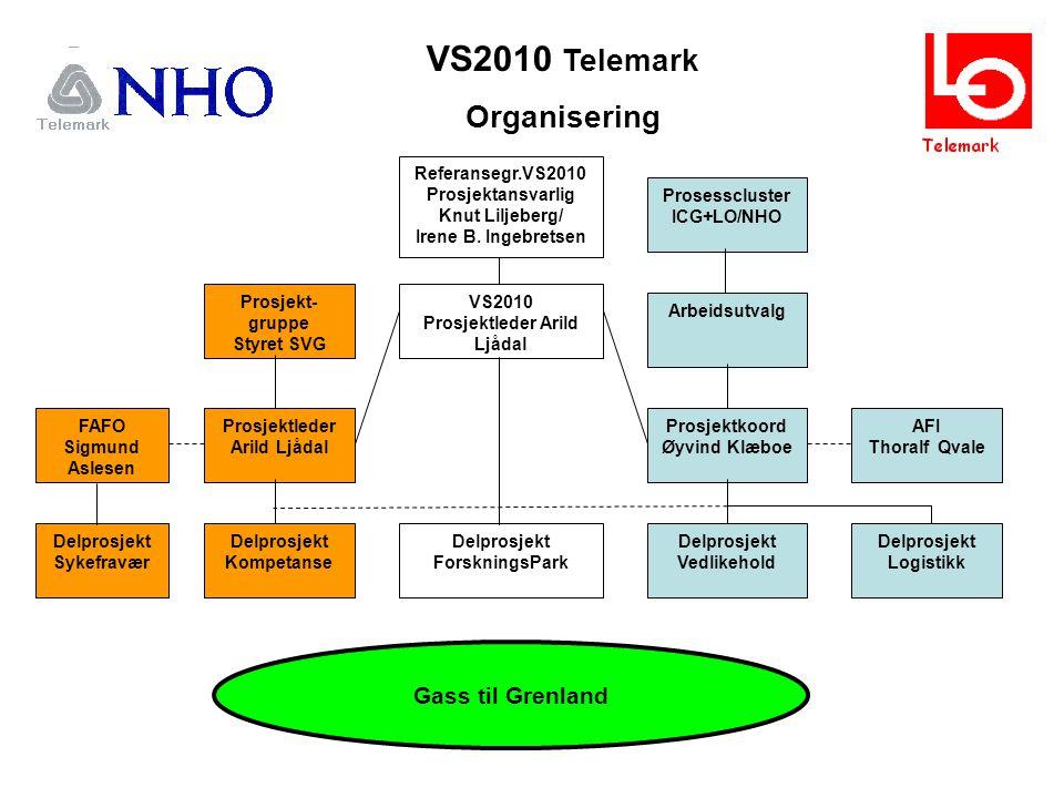 VS2010 Telemark Organisering Prosesscluster ICG+LO/NHO Arbeidsutvalg Prosjektkoord Øyvind Klæboe Delprosjekt Vedlikehold AFI Thoralf Qvale Delprosjekt