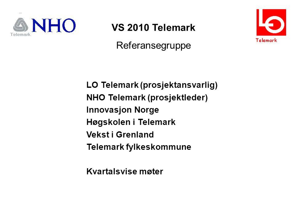VS 2010 Telemark Referansegruppe LO Telemark (prosjektansvarlig) NHO Telemark (prosjektleder) Innovasjon Norge Høgskolen i Telemark Vekst i Grenland Telemark fylkeskommune Kvartalsvise møter
