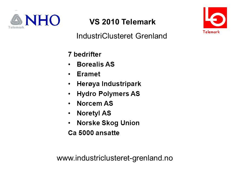 VS 2010 Telemark IndustriClusteret Grenland 7 bedrifter Borealis AS Eramet Herøya Industripark Hydro Polymers AS Norcem AS Noretyl AS Norske Skog Union Ca 5000 ansatte www.industriclusteret-grenland.no