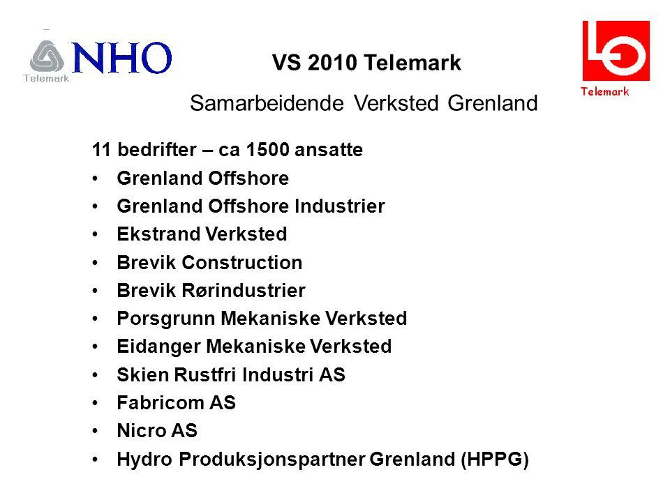 VS 2010 Telemark Samarbeidende Verksted Grenland 11 bedrifter – ca 1500 ansatte Grenland Offshore Grenland Offshore Industrier Ekstrand Verksted Brevik Construction Brevik Rørindustrier Porsgrunn Mekaniske Verksted Eidanger Mekaniske Verksted Skien Rustfri Industri AS Fabricom AS Nicro AS Hydro Produksjonspartner Grenland (HPPG)