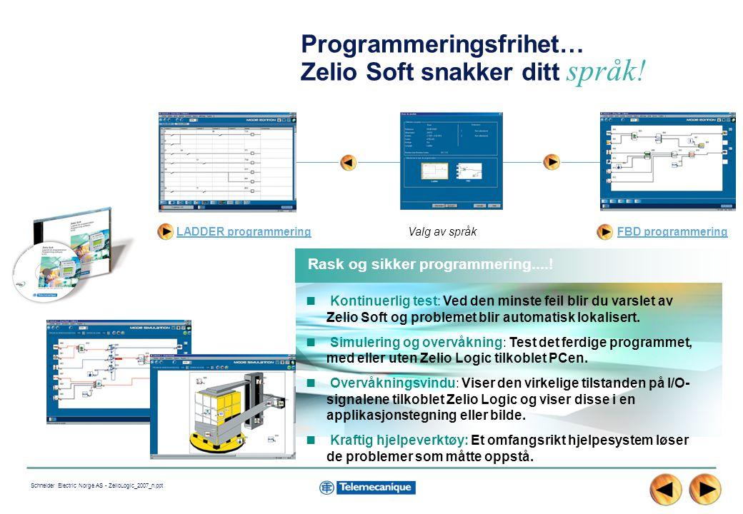 11 Schneider Electric Norge AS - ZelioLogic_2007_n.ppt Programmeringsfrihet… Zelio Soft snakker ditt språk.