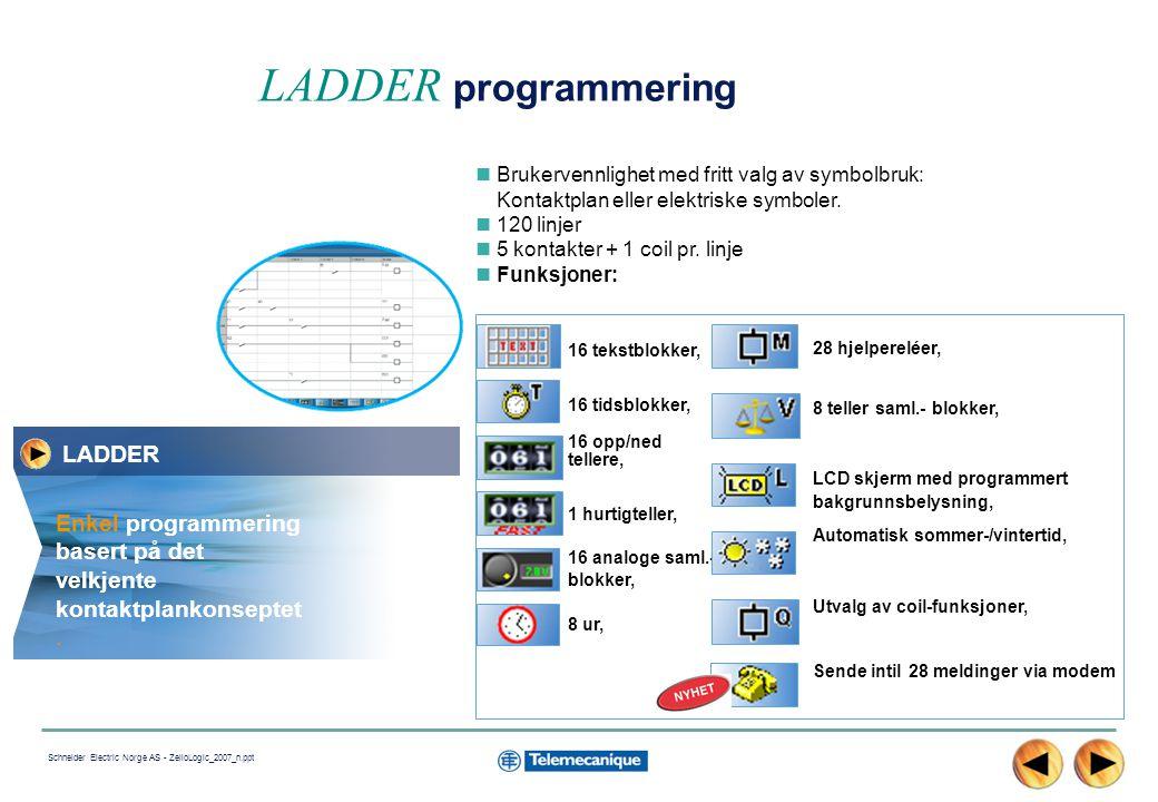 12 Schneider Electric Norge AS - ZelioLogic_2007_n.ppt Brukervennlighet med fritt valg av symbolbruk: Kontaktplan eller elektriske symboler.