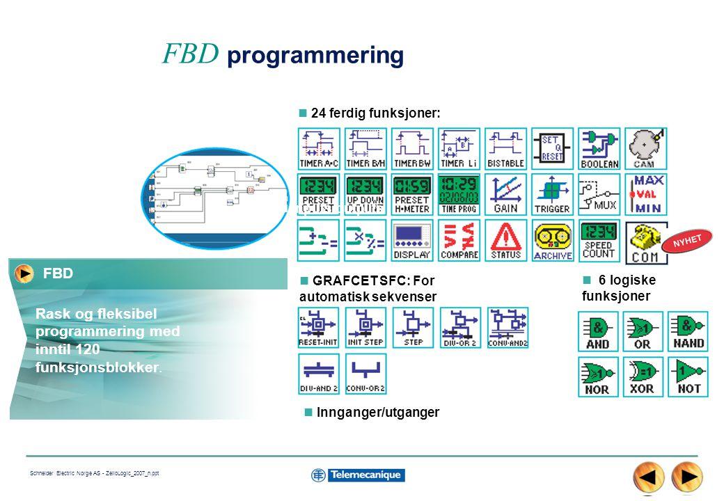 13 Schneider Electric Norge AS - ZelioLogic_2007_n.ppt 24 ferdig funksjoner: FBD programmering GRAFCET SFC: For automatisk sekvenser 6 logiske funksjoner Innganger/utganger Rask og fleksibel programmering med inntil 120 funksjonsblokker.