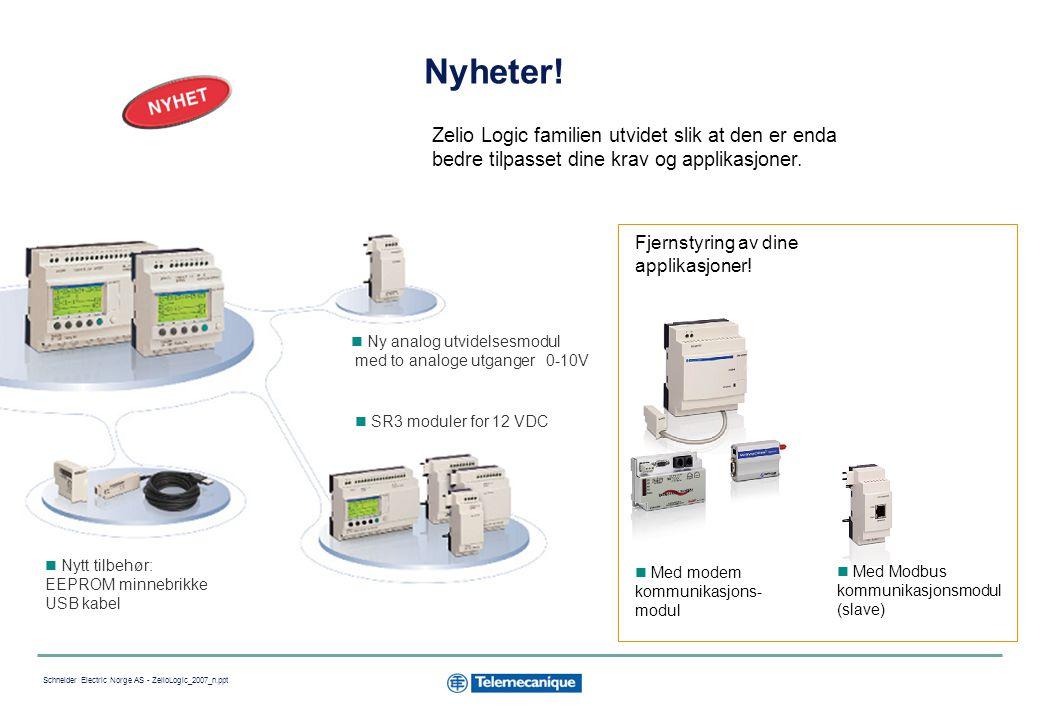 15 Schneider Electric Norge AS - ZelioLogic_2007_n.ppt Fjernstyring av ubemannede installasjoner Med mobiltelefon: Motta meldinger via SMS: hvis telefonen er utenfor dekning vil meldingen bli sendt til en annen definert mottaker.
