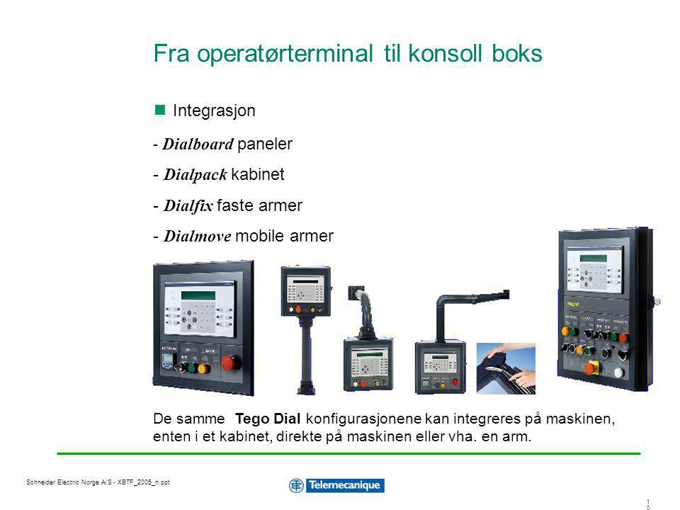 1010 Schneider Electric Norge A/S - XBTF_2005_n.ppt - Dialboard paneler - Dialpack kabinet - Dialfix faste armer - Dialmove mobile armer De samme Tego