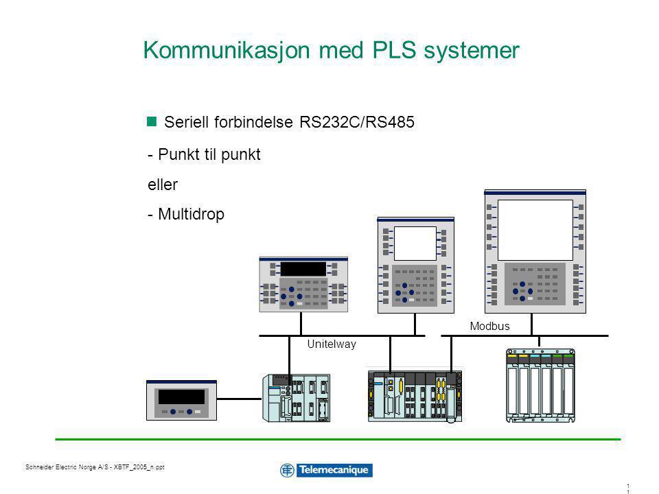 1 Schneider Electric Norge A/S - XBTF_2005_n.ppt Seriell forbindelse RS232C/RS485 - Punkt til punkt eller - Multidrop Unitelway Modbus Kommunikasjon m