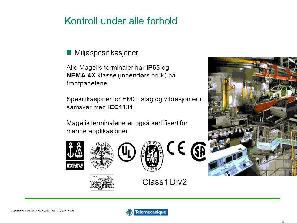 1515 Schneider Electric Norge A/S - XBTF_2005_n.ppt Class1 Div2 Alle Magelis terminaler har IP65 og NEMA 4X klasse (innendørs bruk) på frontpanelene.