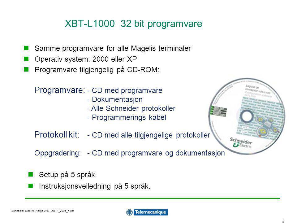 1818 Schneider Electric Norge A/S - XBTF_2005_n.ppt XBT-L1000 32 bit programvare Samme programvare for alle Magelis terminaler Operativ system: 2000 e