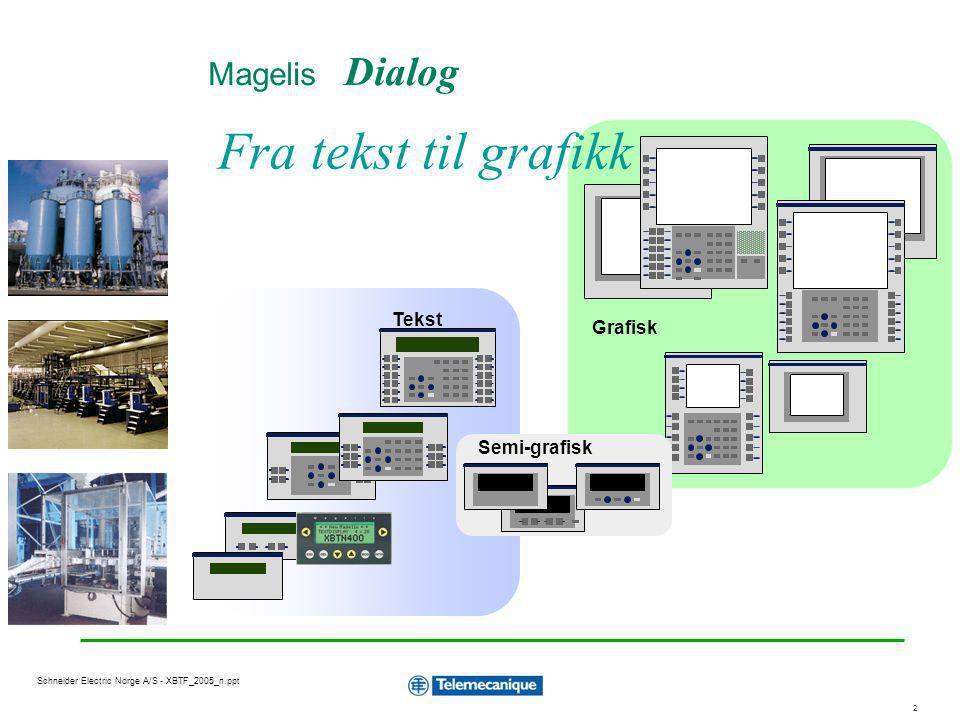 3 Schneider Electric Norge A/S - XBTF_2005_n.ppt Grafiske terminaler Skjermer : Terminaler med funksjonstaster –Bakgrunnsbelyst gråtone LCD 5.7 eller 9.5 –Farve TFT 5.7 eller 10.4 Terminaler med touchscreen –Farve STN 5.7 –Farve TFT 10.4 10 til 12 statiske funksjonstaster og 8 til 10 dynamiske funksjonstaster Serie kommunikasjon til Modicon TSX PLS og andre PLS typer Ethernet, Modbus TCP kommunikasjon Applikasjon og firmware lagres på PCMCIA minnekort XBT-F