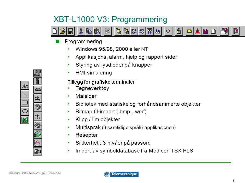 2020 Schneider Electric Norge A/S - XBTF_2005_n.ppt XBT-L1000 V3: Programmering Programmering Windows 95/98, 2000 eller NT Applikasjons, alarm, hjelp
