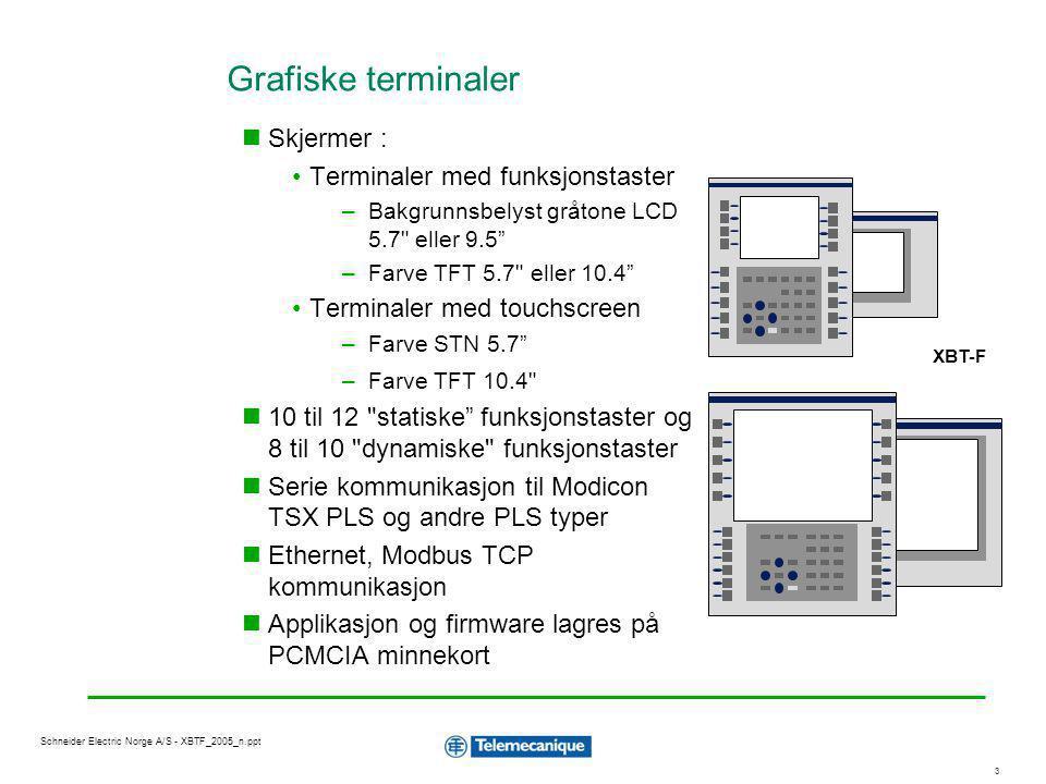 1414 Schneider Electric Norge A/S - XBTF_2005_n.ppt Protokoller EthernetModicon TSX Micro, Premium, Quantum Modbus +Modicon TSX Micro, Premium, Quantum Modicon 984 FIPIO / FIPWAYModicon TSX Micro, Premium TSX47...107 ModbusModicon TSX Nano, Micro, Premium, Quantum TSX47...107, April 2/5/7000, Modicon 984, Twido UNI-TELWAYModicon TSX Nano, Micro, Premium TSX47...107 KSA Line AS511, 3964RSiemens SIMATIC S5 RPPI, MPISiemens SIMATIC S7 DF1, DH485Allen Bradley PLC5, SLC500 SYSWAYOmron C200 SNPXGeneral Electric Serie 90 XBT-F