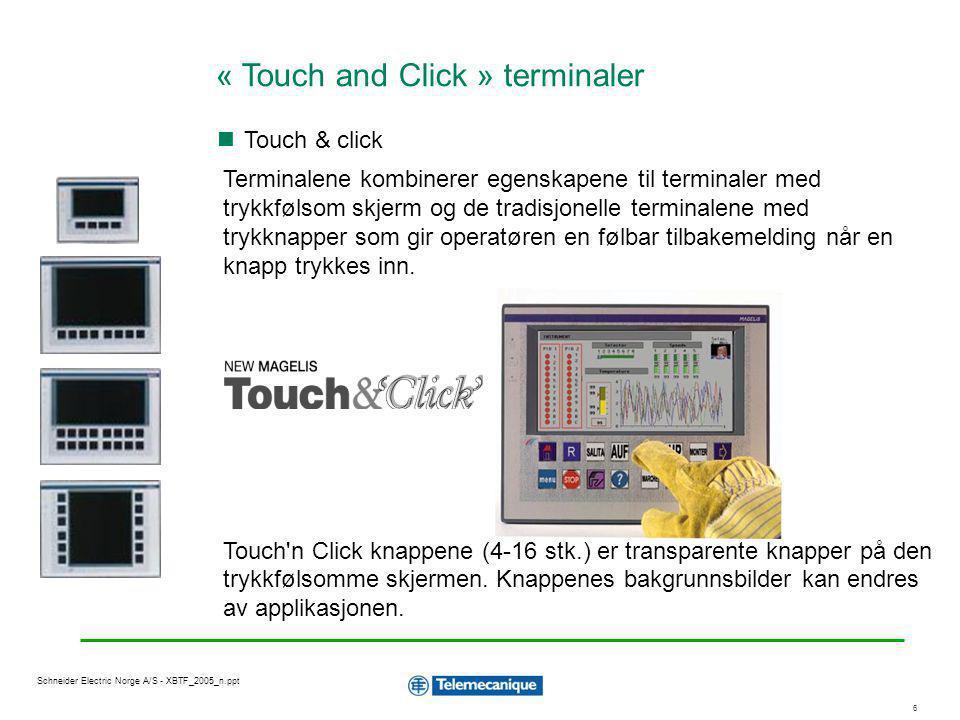 7 Schneider Electric Norge A/S - XBTF_2005_n.ppt God skjerm med optimal synsvinkel inntil 80° Magelis terminalen kan via Ethernet TCP/IP gi direkte tilgang til lokale eller fjerne installasjoner ved bruk av internet teknologi.