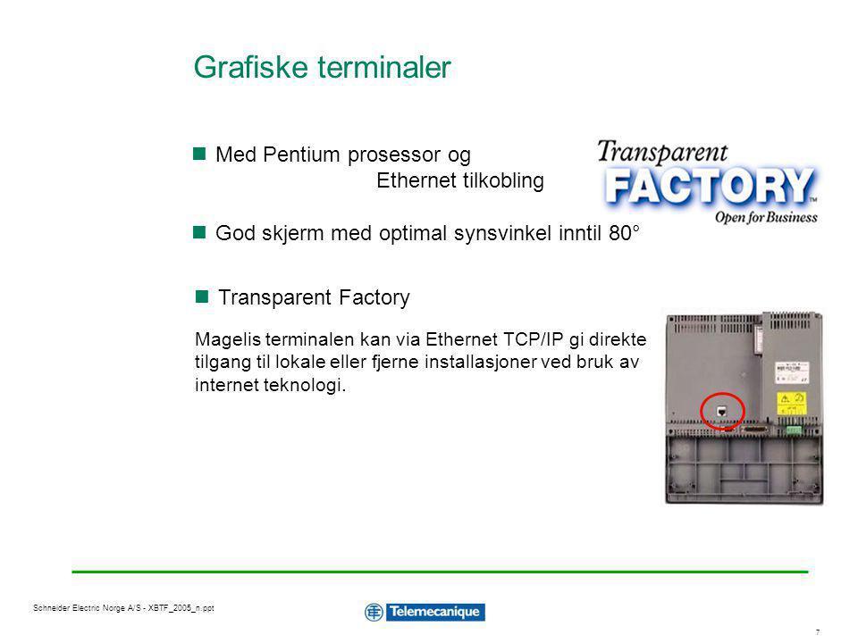 7 Schneider Electric Norge A/S - XBTF_2005_n.ppt God skjerm med optimal synsvinkel inntil 80° Magelis terminalen kan via Ethernet TCP/IP gi direkte ti