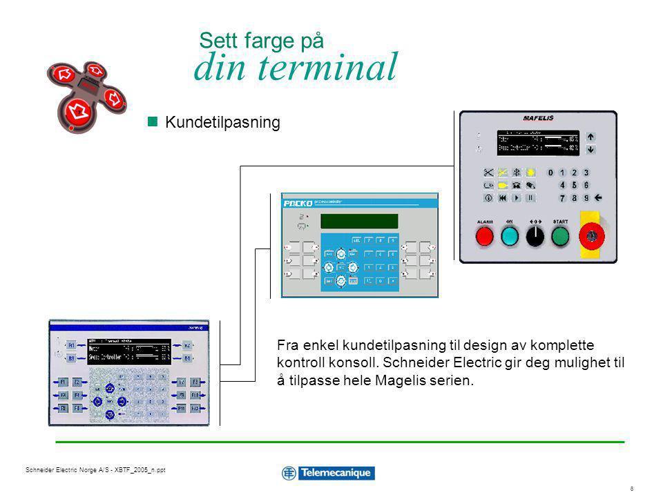 1919 Schneider Electric Norge A/S - XBTF_2005_n.ppt Magelis funksjoner Applikasjonssider Alarmhåndtering, alarmlogg Utskrift av rapportsider Systemsider Hjelpesider til applikasjonssider og alarmsider Reseptfunksjon (lagring på PCMIA kort) Overføre applikasjon direkte til PCMCIA kort i PC Skjermsparer med justerbar tid Automatisk skjermjustering på XBT-F 5 Direkte tilgang til bit og ord i PLS for test Tillegg for grafiske terminaler