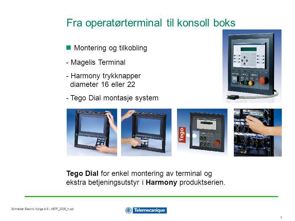 2020 Schneider Electric Norge A/S - XBTF_2005_n.ppt XBT-L1000 V3: Programmering Programmering Windows 95/98, 2000 eller NT Applikasjons, alarm, hjelp og rapport sider Styring av lysdioder på knapper HMI simulering Tegneverktøy Malsider Bibliotek med statiske og forhåndsanimerte objekter Bitmap fil-import (.bmp,.wmf) Klipp / lim objekter Multispråk (3 samtidige språk i applikasjonen) Resepter Sikkerhet : 3 nivåer på passord Import av symboldatabase fra Modicon TSX PLS Tillegg for grafiske terminaler