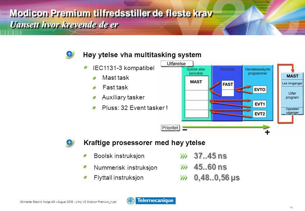 14 Schneider Electric Norge AS – August 2006 - Unity V2 Modicon Premium_n.ppt Kraftige prosessorer med høy ytelse Høy ytelse vha multitasking system Mast task Fast task Auxiliary tasker Boolsk instruksjon Nummerisk instruksjon 37..45 ns 45..60 ns Flyttall instruksjon 0,48..0,56 µs Modicon Premium tilfredsstiller de fleste krav Uansett hvor krevende de er IEC1131-3 kompatibel Pluss: 32 Event tasker !