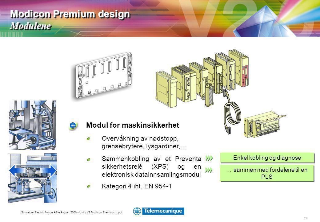 21 Schneider Electric Norge AS – August 2006 - Unity V2 Modicon Premium_n.ppt Overvåkning av nødstopp, grensebrytere, lysgardiner,...