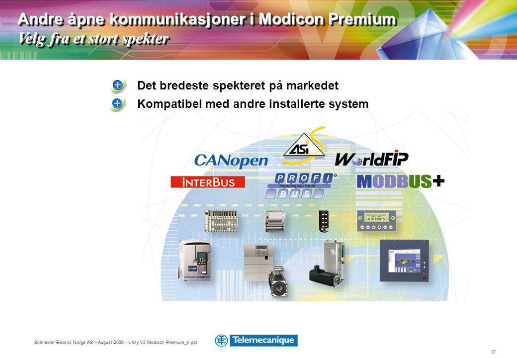 37 Schneider Electric Norge AS – August 2006 - Unity V2 Modicon Premium_n.ppt + Det bredeste spekteret på markedet Andre åpne kommunikasjoner i Modicon Premium Velg fra et stort spekter Kompatibel med andre installerte system