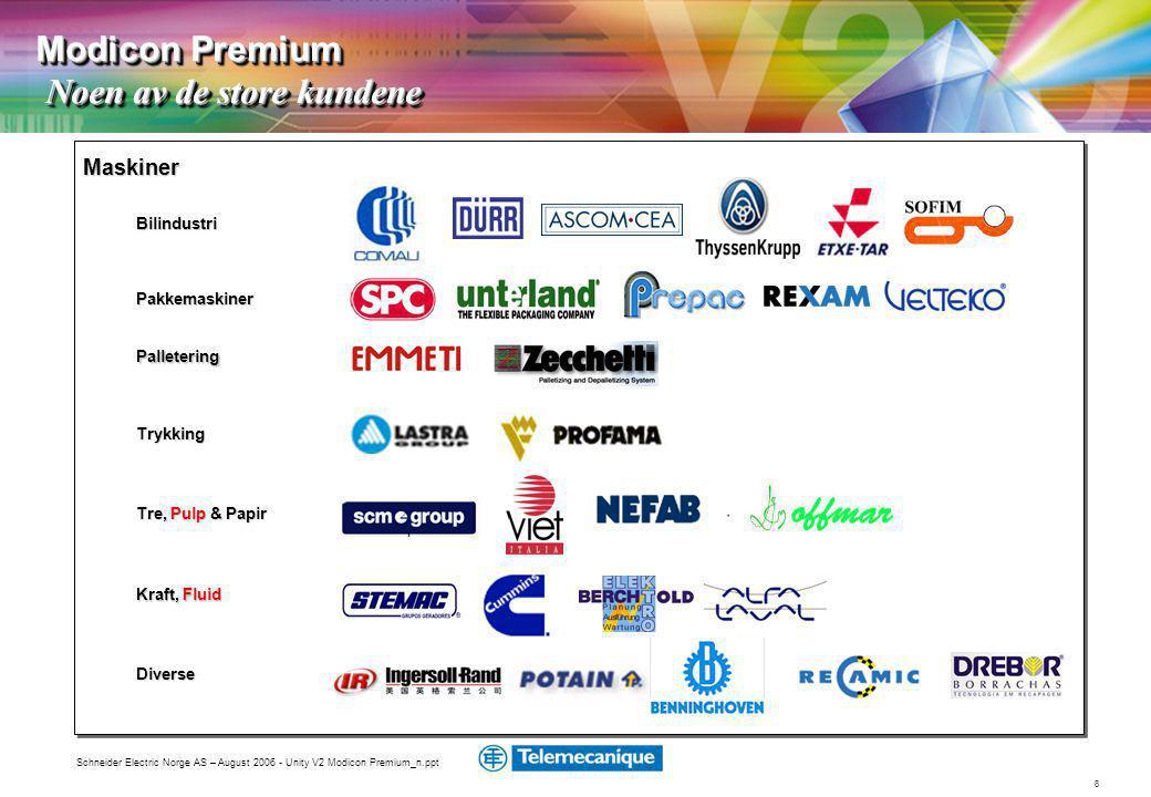 8 Schneider Electric Norge AS – August 2006 - Unity V2 Modicon Premium_n.ppt Bilindustri Pakkemaskiner Trykking Tre, Pulp & Papir Diverse Maskiner Kraft, Fluid Palletering Modicon Premium Noen av de store kundene