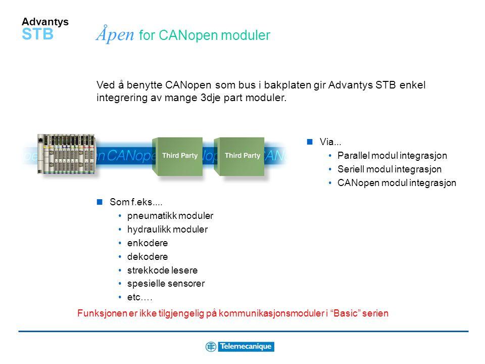 Advantys STB Refleks funksjoner for lokal kontroll Distribuert kontroll/styring Lokal I/O behandles med kort responstid (1-3) ms Enkelt og raskt å kon