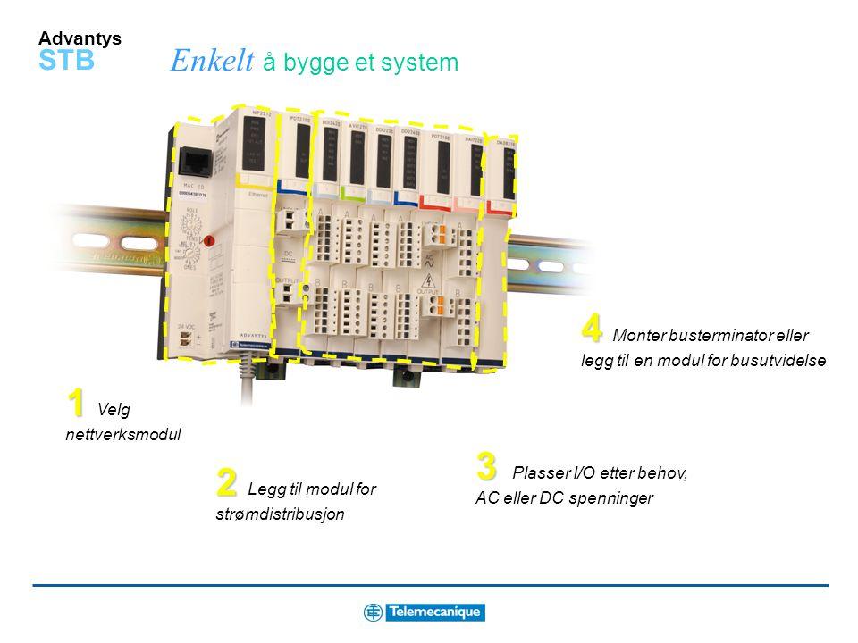 Advantys STB I/O moduler for enkel montering og vedlikehold Virtuell bakplate - en DIN-skinne med I/O baser for hver modul. Sparer plass Enkelt å modi