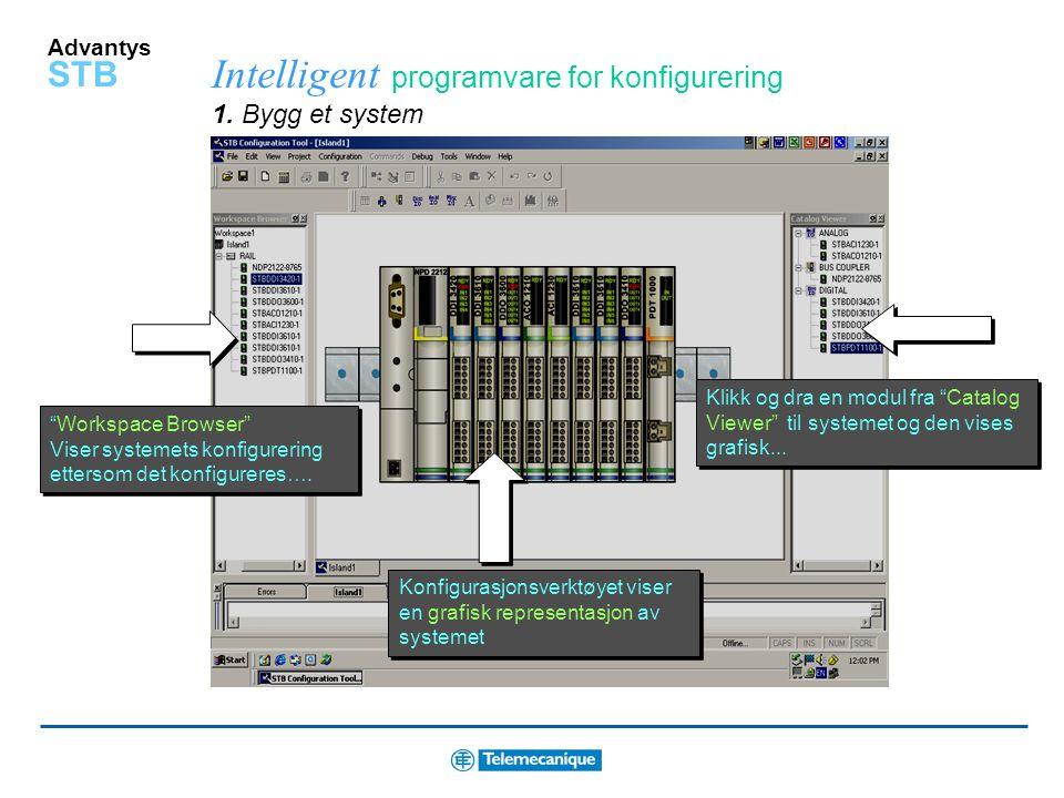 Advantys STB Smarte systemegenskaper Sanntid I/O service Les system status og sjekk konfigurasjon via Internet med den integrerte WEB serveren på Ethe