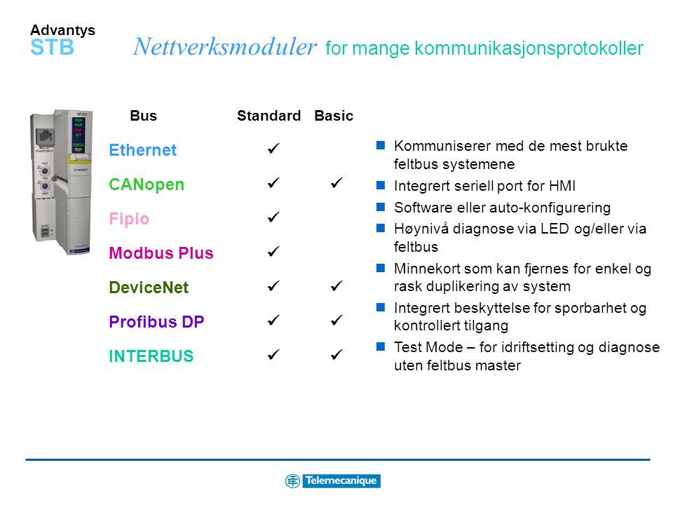 """Advantys STB Velg den """"Reflex Function"""" du ønsker og koble til I/O signaler, inntil 10 funksjoner pr. system Intelligent programvare for konfigurering"""
