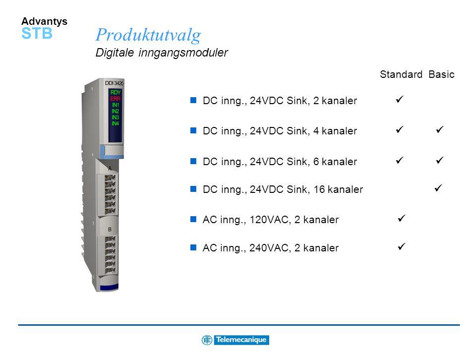 Advantys STB Nettverksmoduler for mange kommunikasjonsprotokoller Bus Standard Basic Ethernet CANopen Fipio Modbus Plus DeviceNet Profibus DP INTERBUS