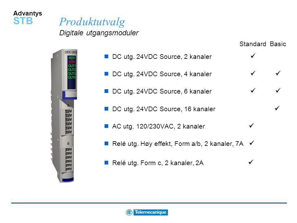 Advantys STB Produktutvalg Digitale inngangsmoduler DC inng., 24VDC Sink, 2 kanaler DC inng., 24VDC Sink, 4 kanaler  DC inng., 24VDC Sink, 6 kanale