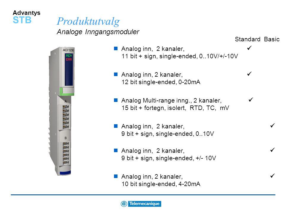 Advantys STB Produktutvalg Digitale utgangsmoduler DC utg. 24VDC Source, 2 kanaler DC utg. 24VDC Source, 4 kanaler  DC utg. 24VDC Source, 6 kanaler
