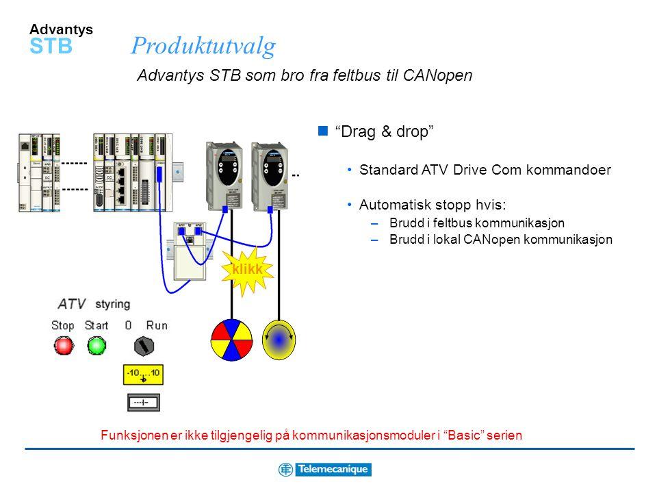"""Advantys STB ATV frekvensomformer tilkobling vha. """"drag & drop"""" All programmering er ferdig Bruk """"Power suite"""" for å konfigurere drive Kan brukes på a"""