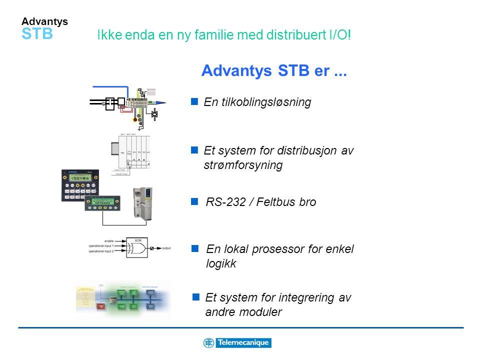 Advantys STB Hva er Advantys STB? Advantys STB er en familie med modulær distribuert I/O digital I/O analog I/O tellere spesialmoduler nettverksmodule
