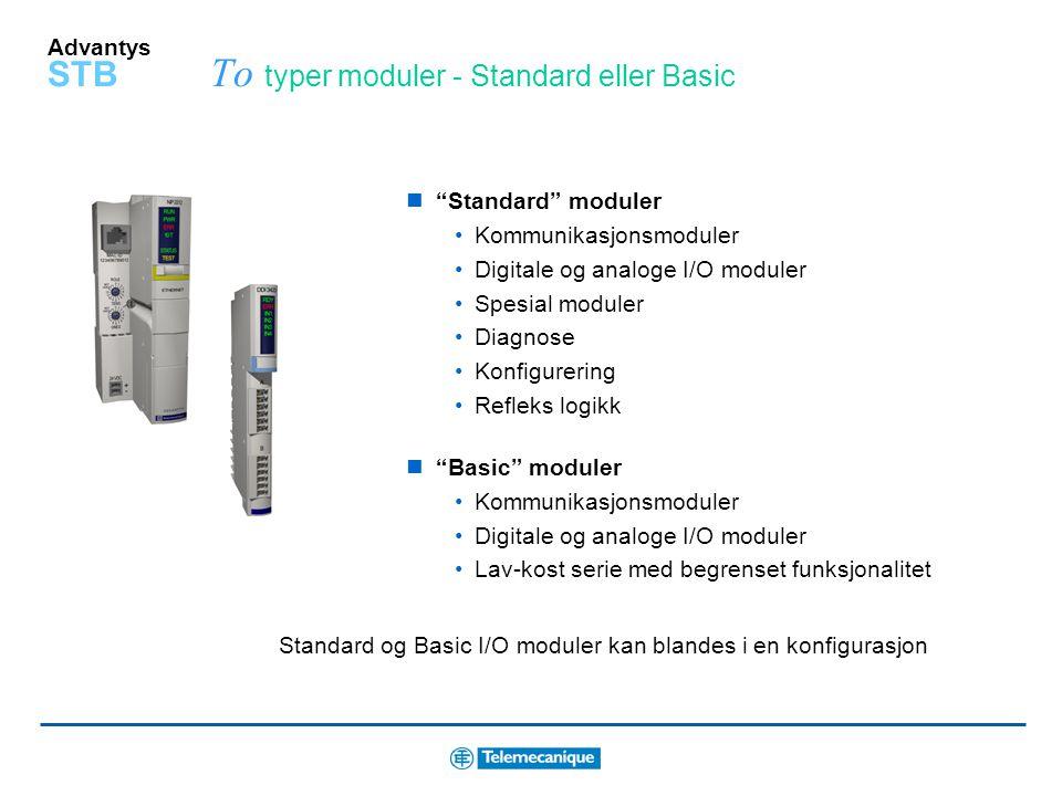 Advantys STB To typer moduler - Standard eller Basic Standard moduler Kommunikasjonsmoduler Digitale og analoge I/O moduler Spesial moduler Diagnose Konfigurering Refleks logikk Basic moduler Kommunikasjonsmoduler Digitale og analoge I/O moduler Lav-kost serie med begrenset funksjonalitet Standard og Basic I/O moduler kan blandes i en konfigurasjon