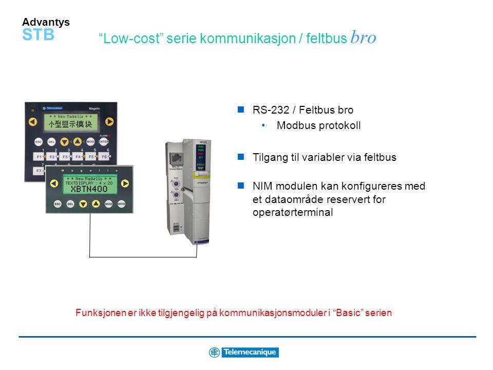 Advantys STB Low-cost serie kommunikasjon / feltbus bro RS-232 / Feltbus bro Modbus protokoll Tilgang til variabler via feltbus NIM modulen kan konfigureres med et dataområde reservert for operatørterminal Funksjonen er ikke tilgjengelig på kommunikasjonsmoduler i Basic serien