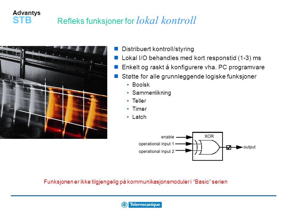 Advantys STB Nettverksmoduler for mange kommunikasjonsprotokoller Bus Standard Basic Ethernet CANopen Fipio Modbus Plus DeviceNet Profibus DP INTERBUS Kommuniserer med de mest brukte feltbus systemene Integrert seriell port for HMI Software eller auto-konfigurering Høynivå diagnose via LED og/eller via feltbus Minnekort som kan fjernes for enkel og rask duplikering av system Integrert beskyttelse for sporbarhet og kontrollert tilgang Test Mode – for idriftsetting og diagnose uten feltbus master