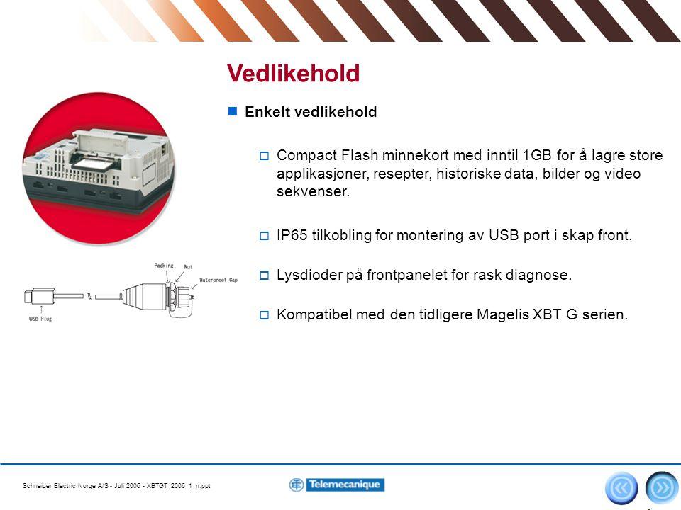 Schneider Electric Norge A/S - Juli 2006 - XBTGT_2006_1_n.ppt 1010 Enkelt vedlikehold  Compact Flash minnekort med inntil 1GB for å lagre store appli