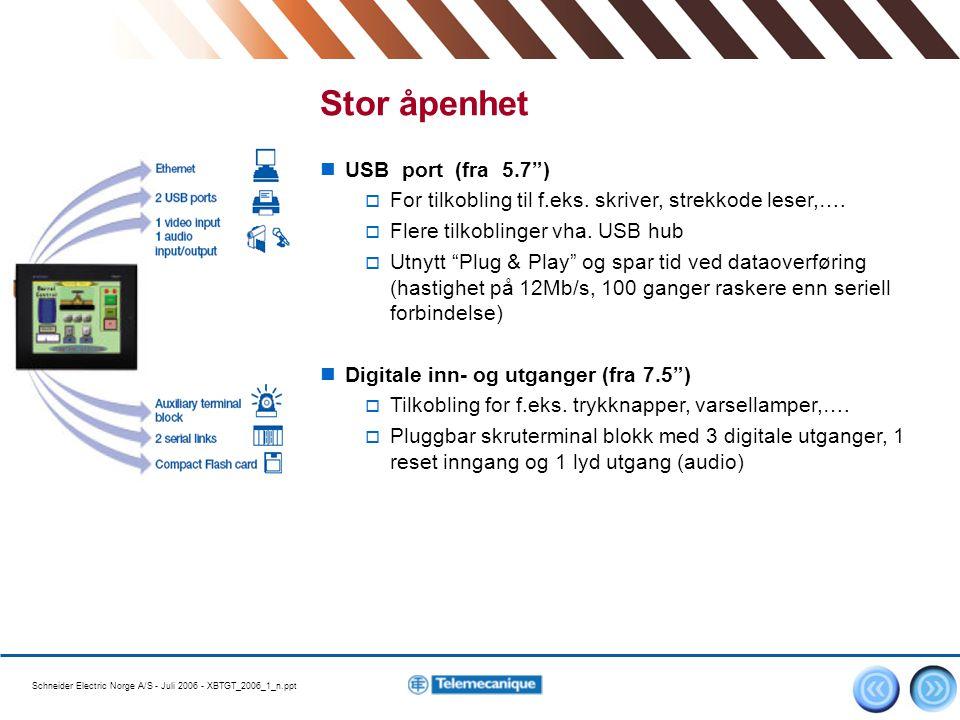 "Schneider Electric Norge A/S - Juli 2006 - XBTGT_2006_1_n.ppt 4 Stor åpenhet USB port (fra 5.7"")  For tilkobling til f.eks. skriver, strekkode leser,"