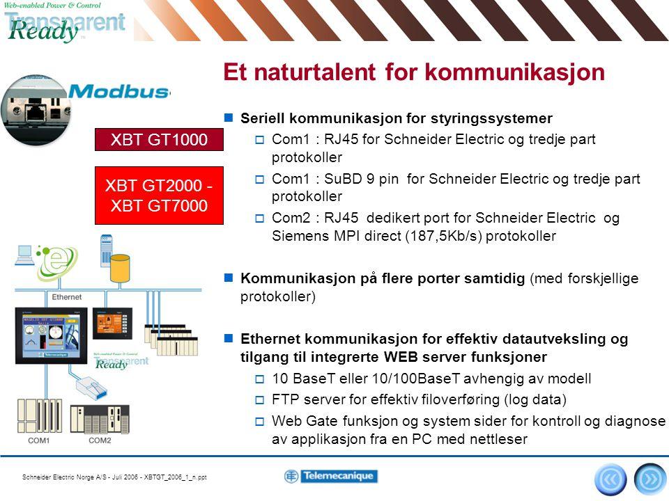 Schneider Electric Norge A/S - Juli 2006 - XBTGT_2006_1_n.ppt 5 Et naturtalent for kommunikasjon Seriell kommunikasjon for styringssystemer  Com1 : R