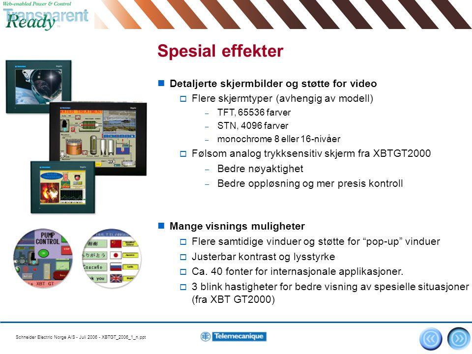 Schneider Electric Norge A/S - Juli 2006 - XBTGT_2006_1_n.ppt 6 Spesial effekter Detaljerte skjermbilder og støtte for video  Flere skjermtyper (avhe