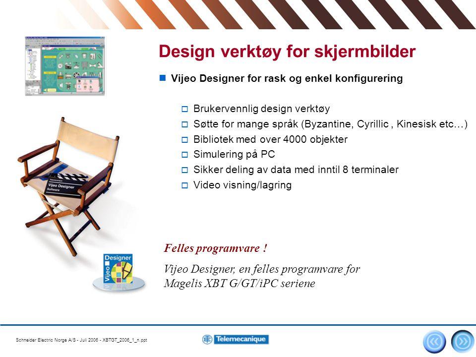 Schneider Electric Norge A/S - Juli 2006 - XBTGT_2006_1_n.ppt 8 Vijeo Designer for rask og enkel konfigurering  Brukervennlig design verktøy  Søtte