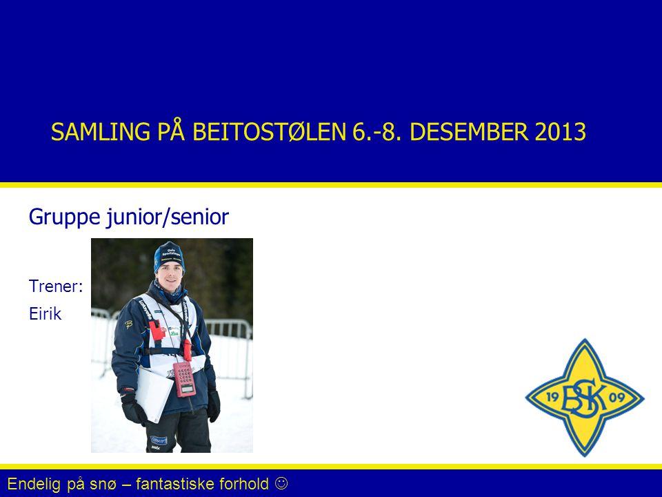 SAMLING PÅ BEITOSTØLEN 6.-8. DESEMBER 2013 Gruppe junior/senior Trener: Eirik Endelig på snø – fantastiske forhold