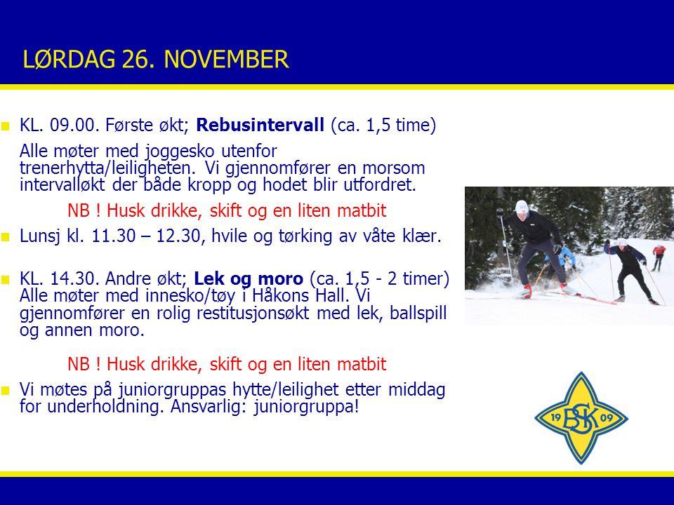 LØRDAG 26. NOVEMBER n KL. 09.00. Første økt; Rebusintervall (ca.
