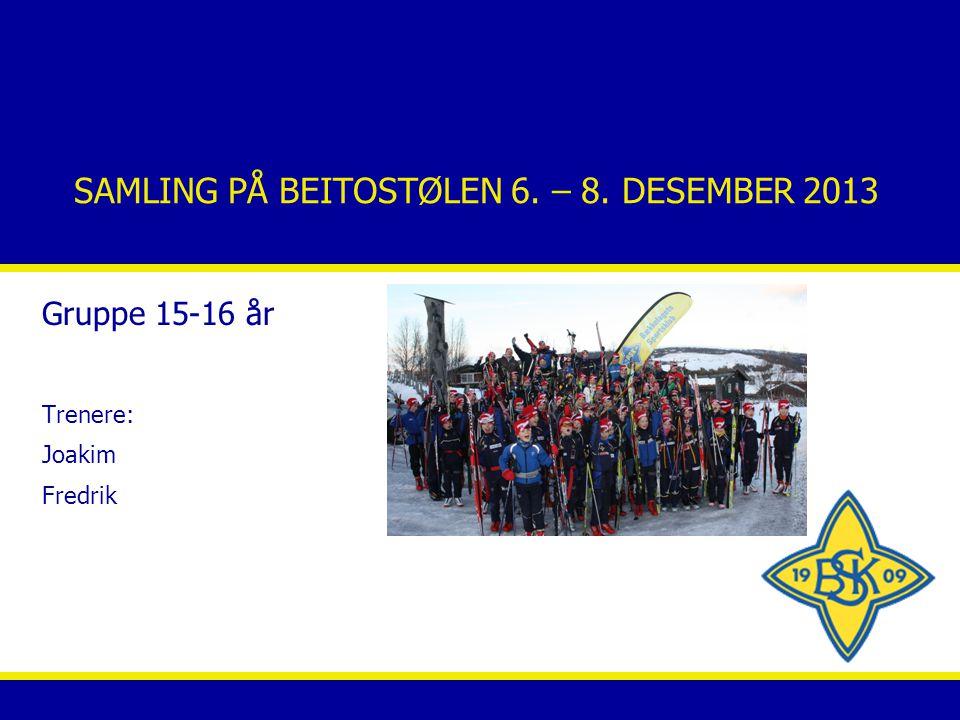 SAMLING PÅ BEITOSTØLEN 6. – 8. DESEMBER 2013 Gruppe 15-16 år Trenere: Joakim Fredrik