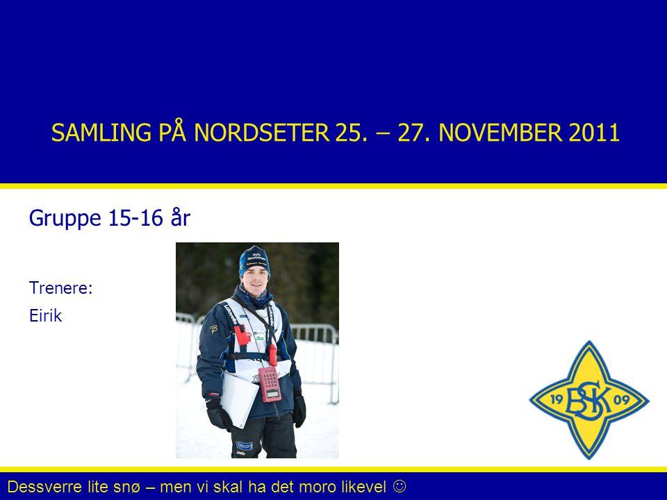 SAMLING PÅ NORDSETER 25. – 27. NOVEMBER 2011 Gruppe 15-16 år Trenere: Eirik Dessverre lite snø – men vi skal ha det moro likevel