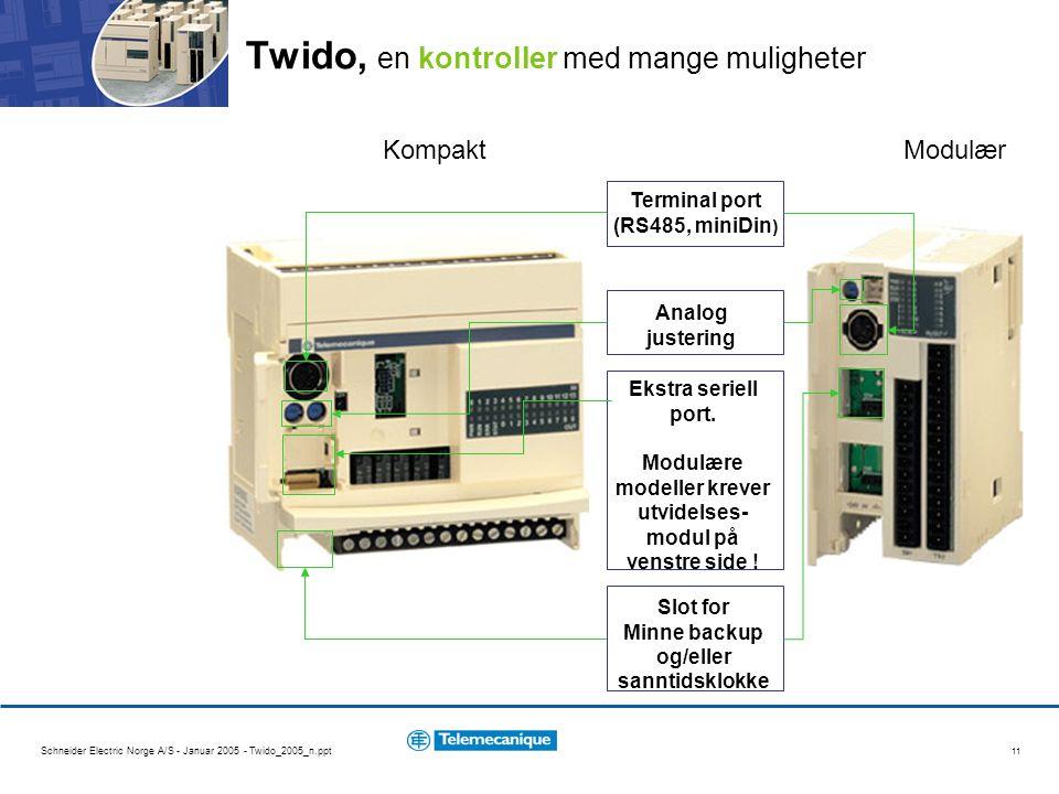 Schneider Electric Norge A/S - Januar 2005 - Twido_2005_n.ppt 11 Twido, en kontroller med mange muligheter KompaktModulær Terminal port (RS485, miniDin ) Analog justering Ekstra seriell port.