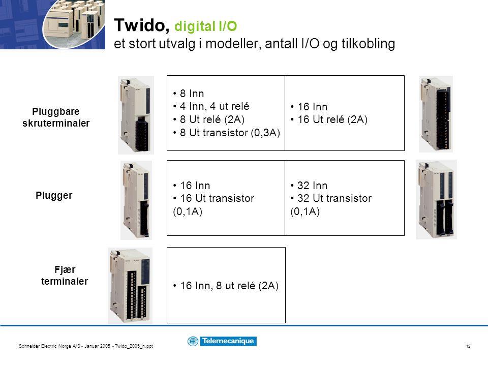 Schneider Electric Norge A/S - Januar 2005 - Twido_2005_n.ppt 12 Twido, digital I/O et stort utvalg i modeller, antall I/O og tilkobling 8 Inn 4 Inn, 4 ut relé 8 Ut relé (2A) 8 Ut transistor (0,3A) 16 Inn 16 Ut relé (2A) 16 Inn 16 Ut transistor (0,1A) 32 Inn 32 Ut transistor (0,1A) 16 Inn, 8 ut relé (2A) Pluggbare skruterminaler Plugger Fjær terminaler
